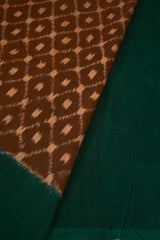 Honey Brown with Green Border Handwoven Ikat Cotton Saree