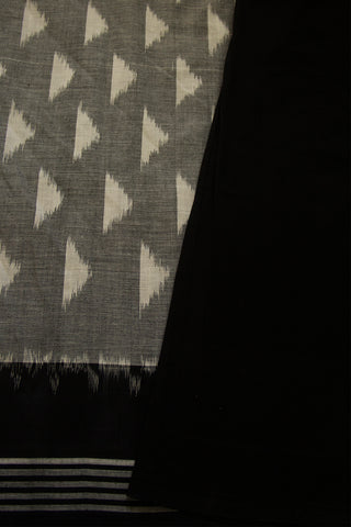 Grey with Black Fine Cotton Ikat Saree