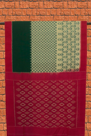 Green with Pink Handwoven Ikat Cotton Saree