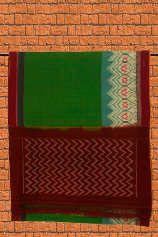 Green with Pinkish Maroon Ikat Cotton Saree