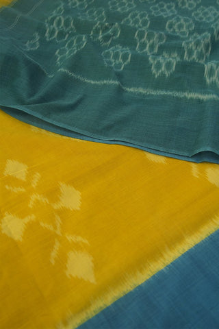 Yellow with Ramar Blue Handwoven Ikat Cotton Saree