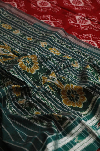 Red with Green Border Handwoven Orissa Ikat Saree