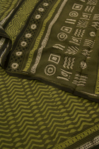Olive Green Dabu Print Mul Cotton Saree