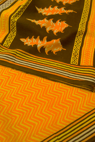 Orange with Yellow Zig Zag Dabu Print Mul Cotton Saree