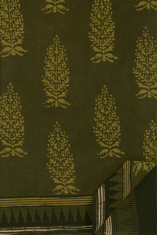 Olive Green Big Leaves Dabu Print Mul Cotton Saree