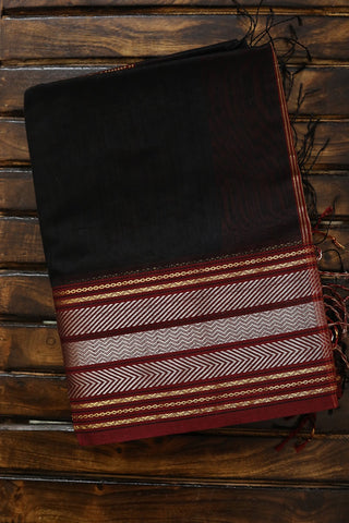 Black with Silver Zari Border Maheshwari Silk Cotton Saree