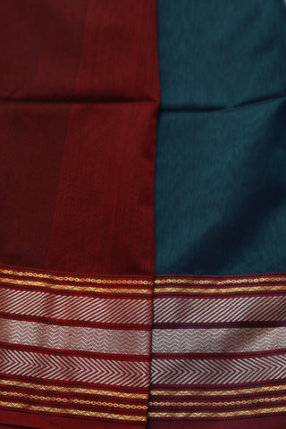 Double Shade Blue with Silver Zari Border Maheshwari Silk Cotton Saree