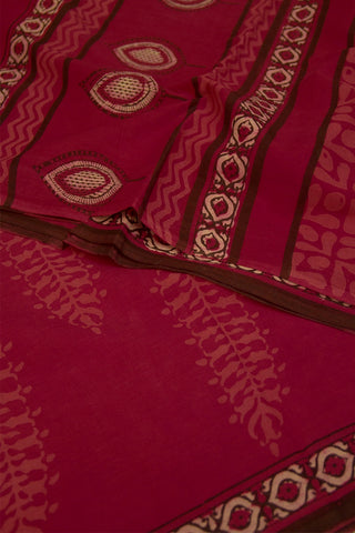 Pink with Beige Big Leaves Dabu Block Printed Saree