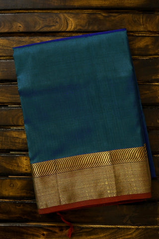 Peacock Blue with Zari Border Mulberry Silk Saree