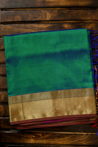 Double Shade Blueish Green Mulberry Silk Saree