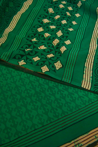 Green Dabu Print Mul Cotton Saree