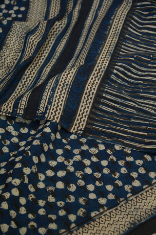 Indigo Dabu Block Printed Mul Cotton Saree
