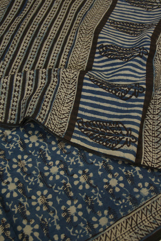 Black with Indigo Dabu Block Printed Mul Cotton Saree