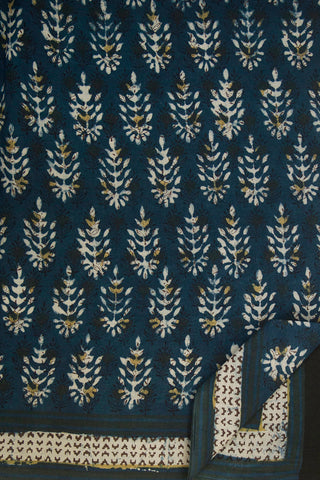 Indigo Leaves Dabu Block Printed Saree