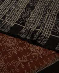 Brown with White Hand woven Orissa Ikat Saree