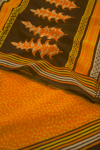 Yelloweish Orange Dabu Print Mul Cotton Saree