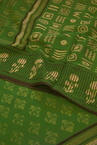 Light Green Floral Dabu Print Mul Cotton Saree