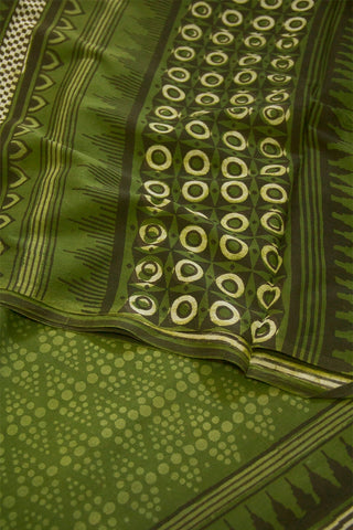 Muted Green with Black Temple Border Dabu Print Mul Cotton Saree
