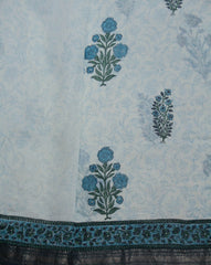White with blue Sanganeri Print Chanderi Saree