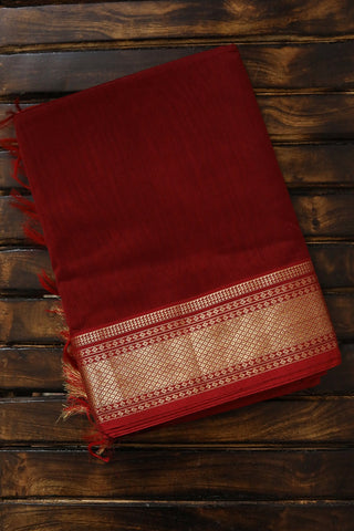 Maroon with Traditional Zari Border Maheshwari Silk Cotton Saree