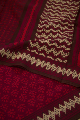 Purplish Maroon Floral Dabu Print Mul Cotton Saree