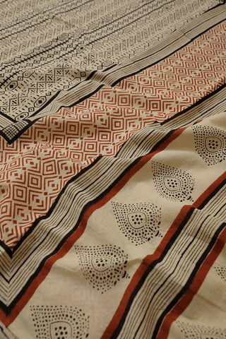 Bagru Print Mul Cotton Saree