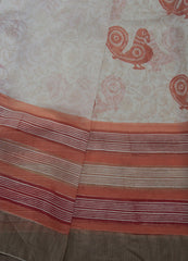 Beige with Orange Annams - Sanganeri Print Chanderi Saree
