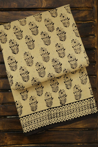 Cream White with Black Bagru Printed Mul Cotton Saree
