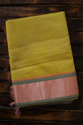 Yellowish Green Missing Weave Maheshwari Silk Cotton Saree