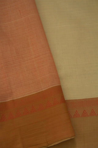Off White with Light Peach Temple Border Handwoven Cotton Saree