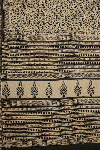 Black with Beige Bagru Printed Mul Cotton Saree