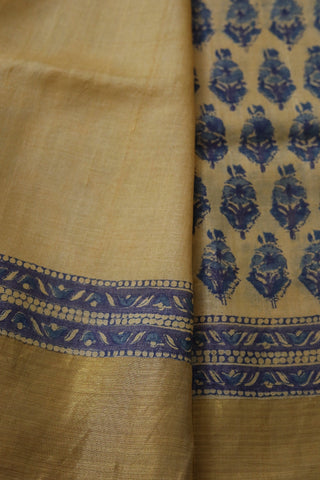 Beige with Blue Floral Desi Hand Printed Tussar silk Saree