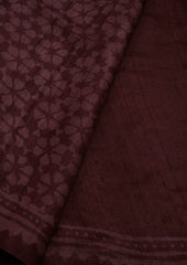 Purple Flowers - Dabu Print Tussar Silk Saree