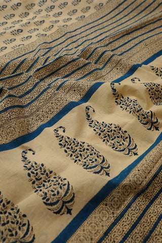 Beige with Blue Leaf Bagru Printed Mul Cotton Saree