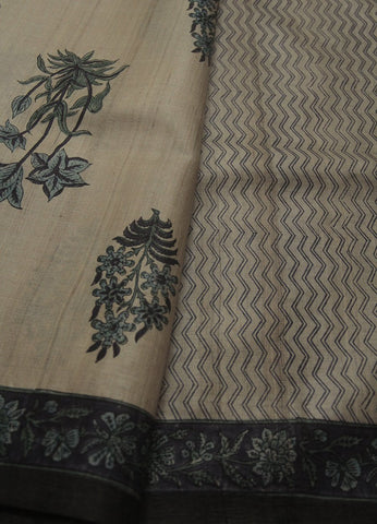 Beige with blue Mughal Print Tussar Silk Sareee
