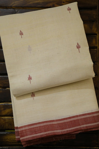 Trisulam Buta in Off White Khadi Cotton Saree