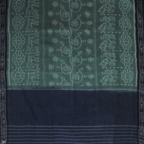 Greyish green Natural Dyed Hand woven Orissa Ikat Saree