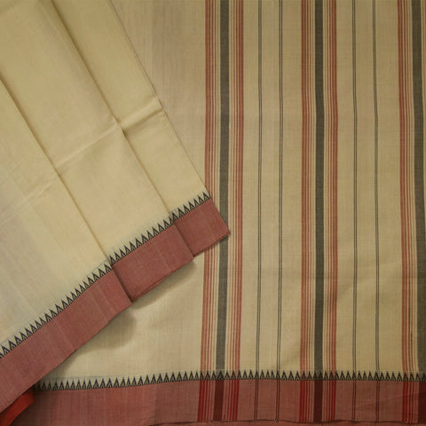 Off White with Rust Red Handwoven Cotton Saree