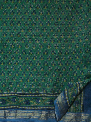 Blue Green Sanganeri Print Chanderi Saree