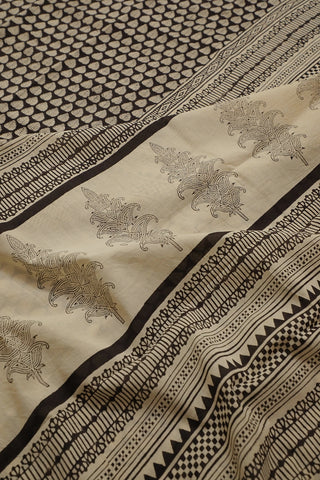 Black with Peepal Leaves Bagru Printed Mul Cotton Saree