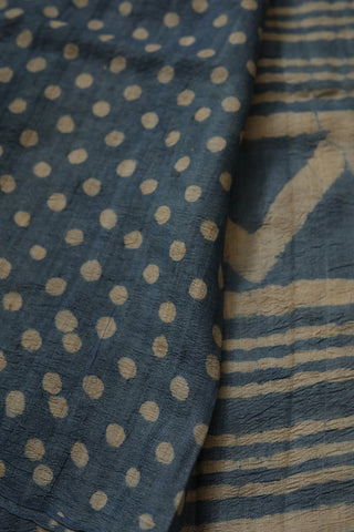Understated Indigo Lines - Block Printed Tussar silk Saree