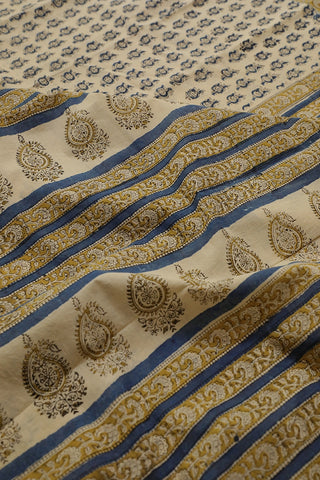 Blue Floral Bagru Printed Mul Cotton Saree