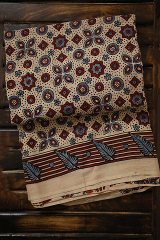 Stars Block Printed Ajrak Mul Cotton Saree