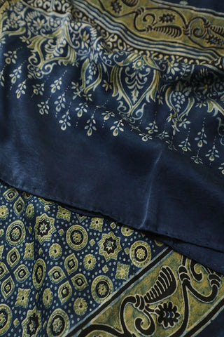 Blue with Circles and Stars Ajrak Modal Silk Stole