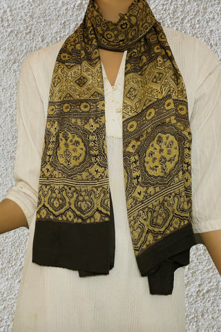 Grey with Yellow Circles and Stars Ajrak Modal Silk Stole
