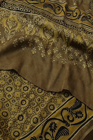 Yellow with Black Circles and Stars Ajrak Modal Silk Stole
