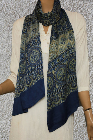 Blue with Yellowish Green Circles Ajrak Modal Silk Stole