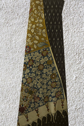 Black Ikat Mercerized Cotton Fabric with Painted Kalamkari Dupatta