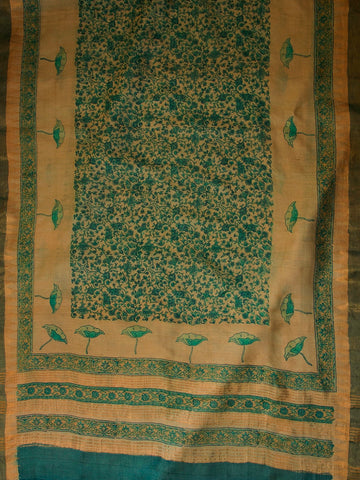 Ramar Blue Plain Tussar Silk Fabric Top and Dupatta
