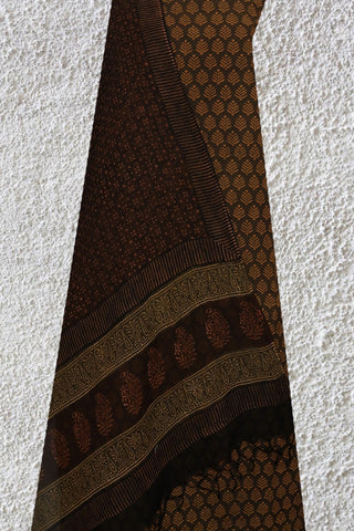 Brown Leaf Print Natural Dyed Suit With Kota Dupatta